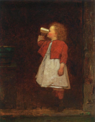 Little Girl with Red Jacket Drinking from Mug