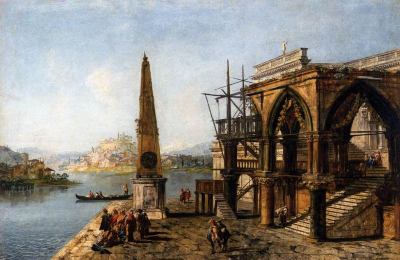 Capriccio with Gothic Building and Obelisk
