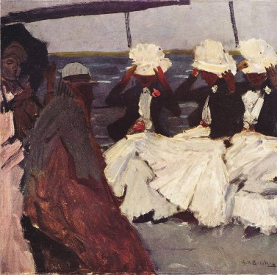 Promenade deck with three ladies