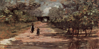 The Tree Avenue with Two Children