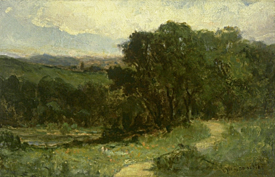 Untitled (landscape with road near stream and trees)