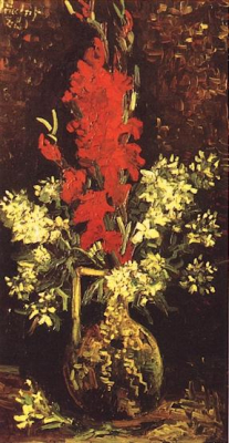Vase with Gladioli and Carnations Red