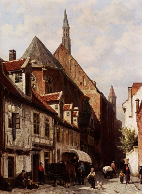 Street in Bremen with the Saint Johann Church in the Background