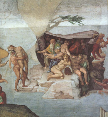 Ceiling of the Sistine Chapel Genesis Noah 7 The Flood right vie