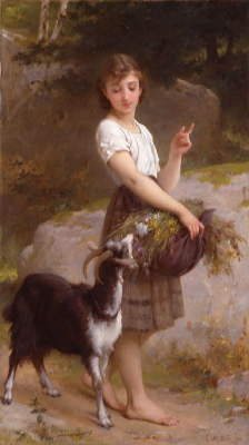 Young Girl With Goat and Flowers