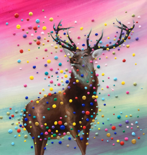 Colorful 3D Dots Deer Painting