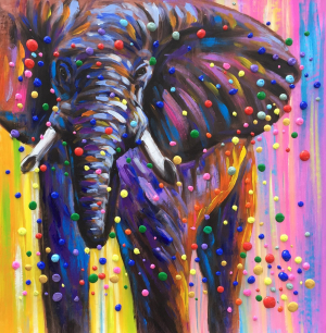 Colorful 3D Dots Elephant Painting
