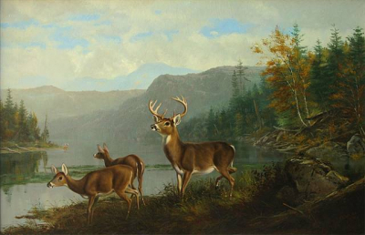 Landscape with Deer and Lake