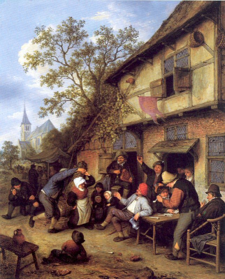 Merrymaking Outside An Inn