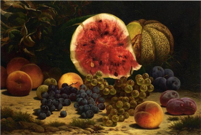 Still Life with Watermelon, Grapes, Peaches, and Plums