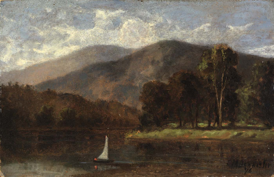Untitled (sailboat in river)