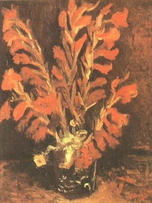 Vase with Light Red Gladioli
