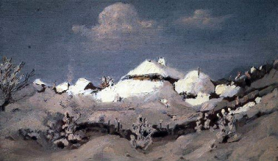 Winter Spots of light on the roofs of huts 1890 1895
