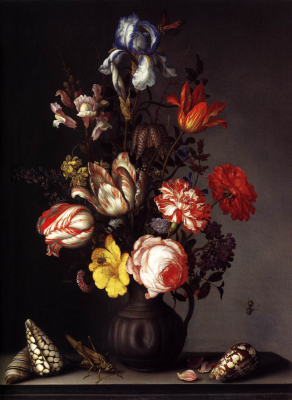 Flowers in a Vase with Shells and Insects 1630