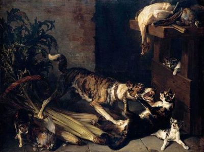 A Dog and a Cat Fighting in a Kitchen Interior