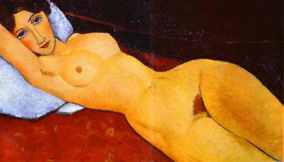 Reclining Nude with Left Arm Resting on Forehead