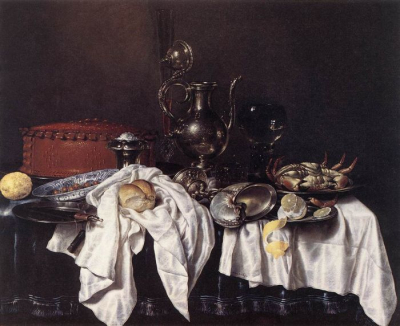 Still Life With Pie, Silver Ewer, And Crab