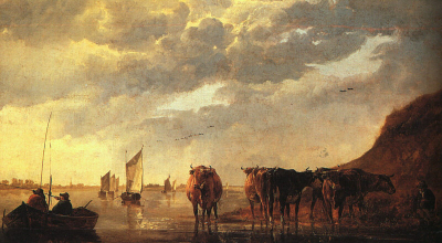 Herdsman with Cows by a River