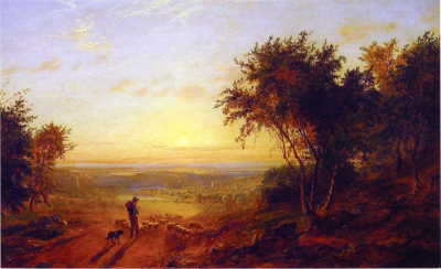 The Return Home - Landscape with Shepherd and Sheep