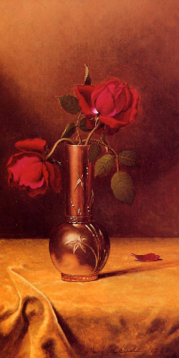 Two Red Roses in a Bronze Vase