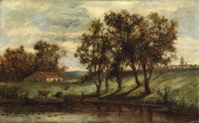 Untitled (man with cows grazing near pond with house and trees in background)