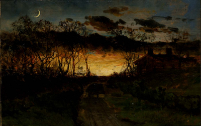 Untitled (sunset with quarter moon and farmhouse)