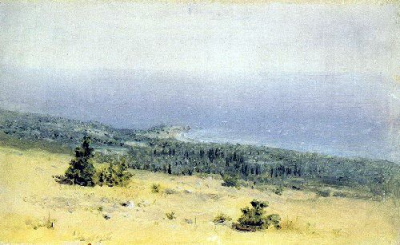 View on the beach and sea from the mountains. Crimea 1880