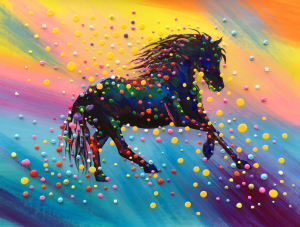 Colorful 3D Dots Horse Painting