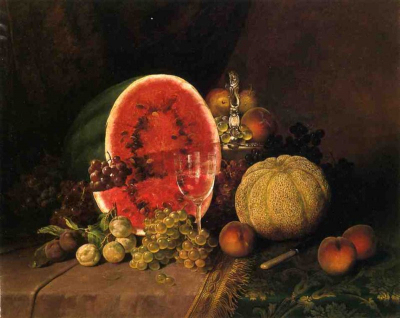 Still Life with Watermelon, Grapes, Peaches, Plums and Cantaloupe