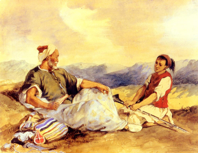 Two Moroccans Seated In The Countryside