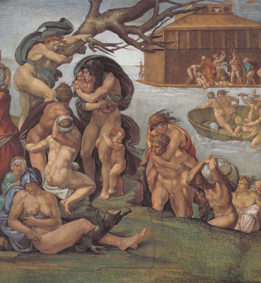 Ceiling of the Sistine Chapel Genesis Noah 7 The Flood left view