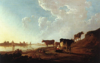 River Scene with Milking Woman