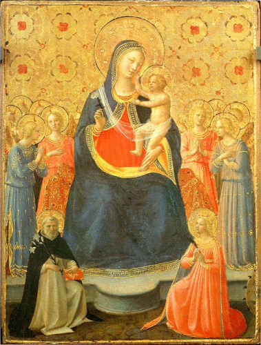Madonna with Child Surrounded by Angels and Saints