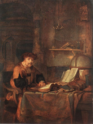 Scholar with his Books