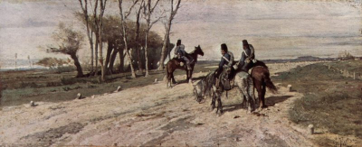 Three Cavalry Men on a Road