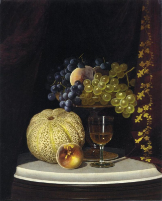 Still Life with Melon, Peach, Fruit-Filled Compote and Glass of Wine