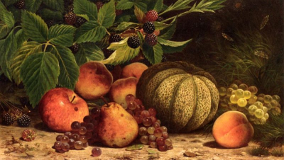 Still Life with Melon, Grapes, Peaches, Pears and Black Raspberries