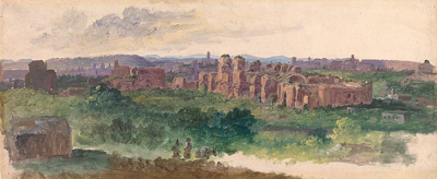 Distant View of Rome with the Baths of Caracalla