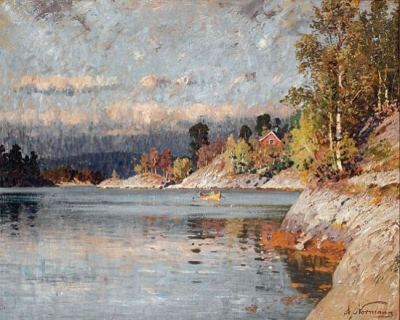 Fjord Landscape with Rowboat
