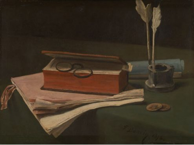 Still Life with Book, Papers, and Inkwell