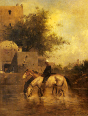 Horses Watering in a River
