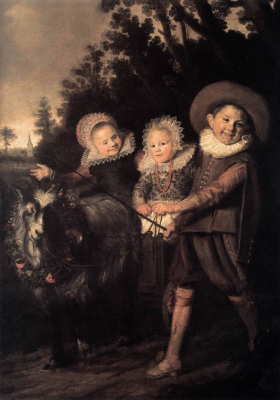 Three Children with a Goat Cart