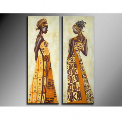 Two Panel African Lady