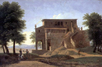 An Italian Villa with Figures