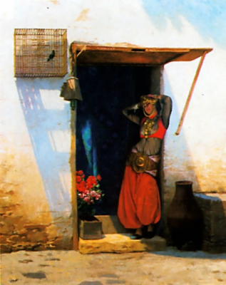 Woman of Cairo at her Door