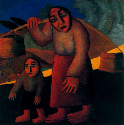 Peasant Woman with Buckets and Child
