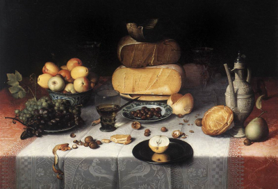 Laid Table with Cheeses and Fruit
