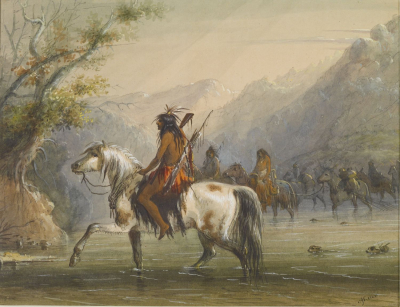 Shoshone Indians - Fording a River