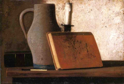 Still Life with Pitcher, Candlestock, Books and Match