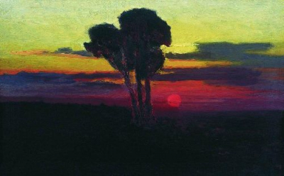 Sunset with trees 1876 1890